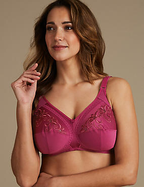 Total Support Embroidered Crossover Full Cup Bra B-G