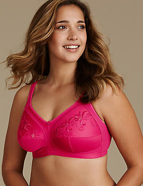 Total Support Embroidered Full Cup Bra D-K