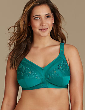 Total Support Non-Wired Embroidered Full Cup Bra B-G, PINE GREEN, catlanding