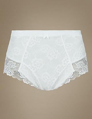 Firm Control Floral Lace Full Briefs Clothing