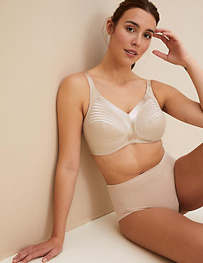 Total Support Striped Non-Wired Full Cup Bra B-G, ALMOND, catlanding