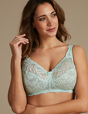Total Support All-Over Fleur Lace Full Cup Bra B-G, SAGE, catlanding