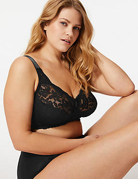 Total Support All-Over Fleur Lace Full Cup Bra B-G, BLACK, catlanding