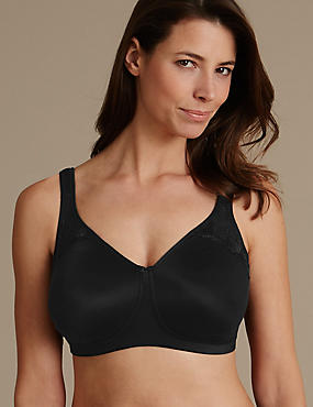 Floral Embroidered Total Support Non-Padded Full Cup Bra B-G, BLACK, catlanding