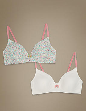 2 Pack Non Wired Ditsy Floral Bra (A-E)