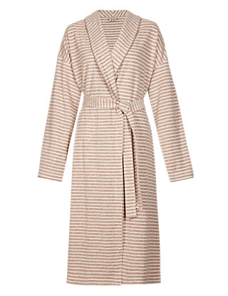 Cotton Rich Baby Terry Striped Wrap Dressing Gown Clothing