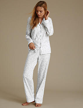 Pure Cotton Shadow Revere Collar Pyjamas