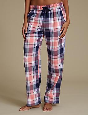 Pure Cotton Checked Pyjama Bottoms, NAVY MIX, catlanding