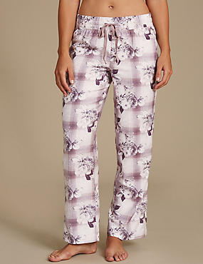 Cotton Blend Floral Print Long Pyjama Bottoms