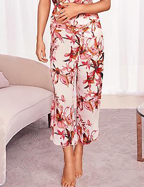 Pure Modal Floral Print Pyjama Bottoms, PINK MIX, catlanding