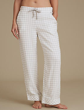 Gingham Pyjama Bottoms, OATMEAL MIX, catlanding