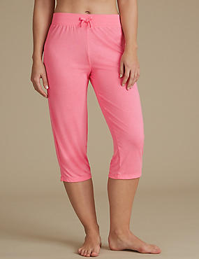 Cropped Pyjama Bottoms, CORAL, catlanding