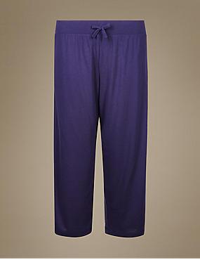 Cropped Pyjama Bottoms, NAVY, catlanding