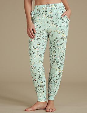 Floral Print Cuffed Hem Pyjama Bottoms, SAGE MIX, catlanding