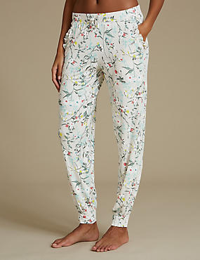 Floral Print Cuffed Hem Pyjama Bottoms, OATMEAL MIX, catlanding