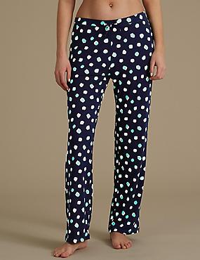 Spotted Wide Leg Pyjama Bottoms, NAVY MIX, catlanding