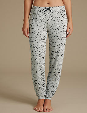 Star Print Glitter Cuffed Hem Pyjama Bottoms
