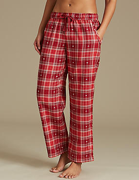 Cotton Rich Checked Straight Leg Pyjama Bottoms