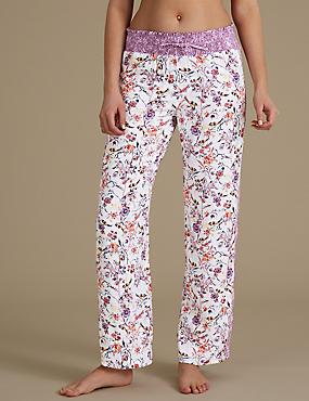 Floral Print Pyjama Bottoms , OATMEAL MIX, catlanding