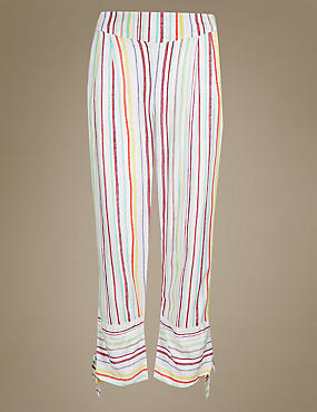Striped Pyjama Bottoms, WHITE MIX, catlanding