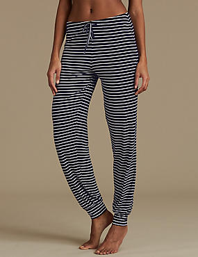 Cuffed Hem Striped Pyjama Bottoms, NAVY MIX, catlanding