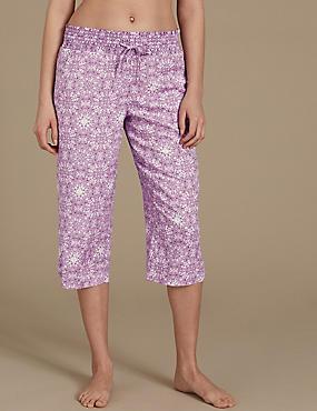 Tile Print Cropped Pyjama Bottoms , LILAC MIX, catlanding