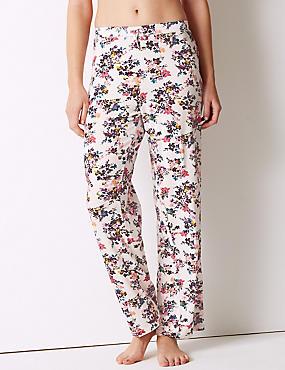 Floral Print Pyjama Bottoms, PALE PINK MIX, catlanding