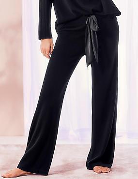 Pure Cashmere Long Pant Pyjama Bottoms , BLACK, catlanding