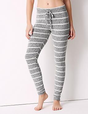 Striped Long Legging Pyjama Bottoms, GREY MIX, catlanding
