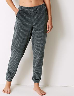 Cotton Rich Striped Pyjama Bottoms, CHARCOAL MIX, catlanding