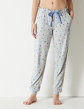 Cotton Rich Printed Pyjama Bottoms, GREY MIX, catlanding