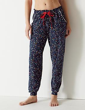 Cotton Rich Star Print Pyjama Bottoms, BLUE MIX, catlanding