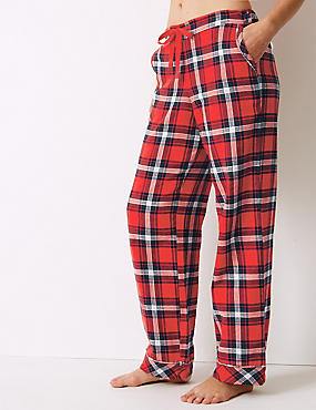 Pure Cotton Checked Pyjama Bottoms, RED MIX, catlanding