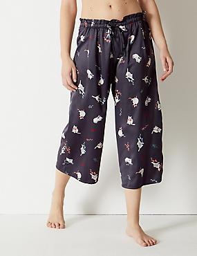 Satin Cat Print Pyjama Bottoms, CHARCOAL, catlanding