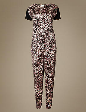 Animal Print Satin Short Sleeve Pyjama Set