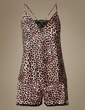 Animal Print Satin Short Pyjamas