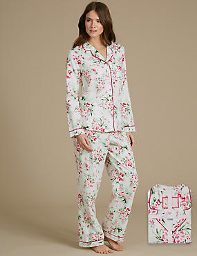 Pure Cotton Floral Print Revere Collar Pyjamas
