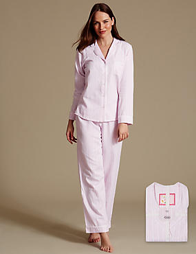 Pure Cotton Striped Long Sleeve Pyjama Set