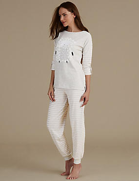 Sheep Slogan Print Striped Pyjama Set