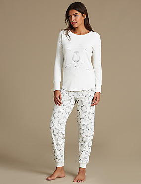 Cotton Rich Penguin Print Pyjamas