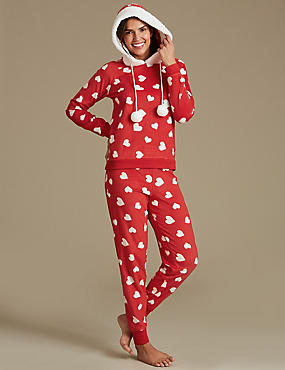 Fleece Heart Print Long Sleeve Pyjamas