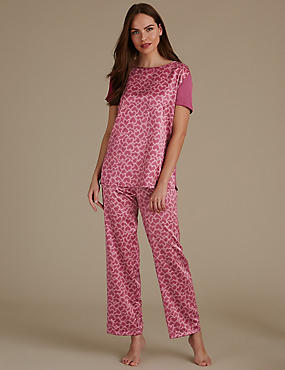 Satin Heart Print Short Sleeve Pyjama Set