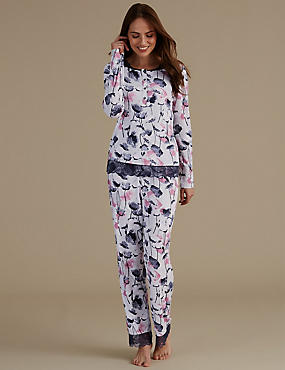 Floral Print Lace Trim Pyjama Set