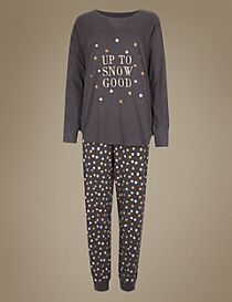 Cotton Rich Snow Print Long Sleeve Pyjamas