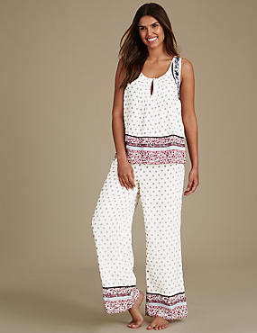 Folk Print Built Up Shoulder Pyjama Set