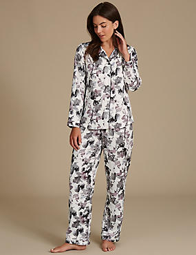Satin Printed Revere Collar Pyjamas