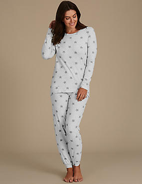 Cotton Rich Star Print Long Sleeve Pyjamas