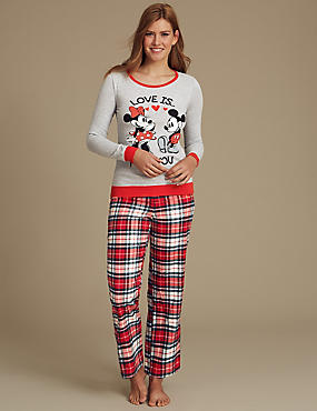 Pure Cotton Minnie Mouse Long Sleeve Pyjama Set