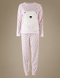 Fleece Printed Long Sleeve Pyjamas