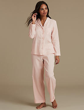 Pure Cotton Textured Long Sleeve Pyjama Set, PINK, catlanding